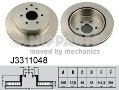 Диск тормозной Nissan PATHFINDER 05- (пр-во Nipparts)                                                NIPPARTS J3311048
