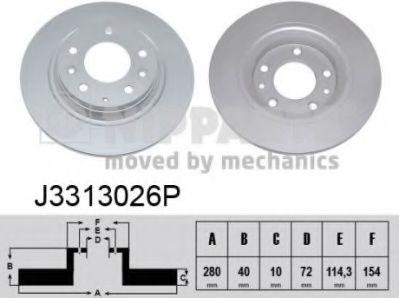 Диск тормозной Mazda 6 (GG,GH), Mazda 323; Mazda 626 (пр-во Nipparts)                                NIPPARTS J3313026P