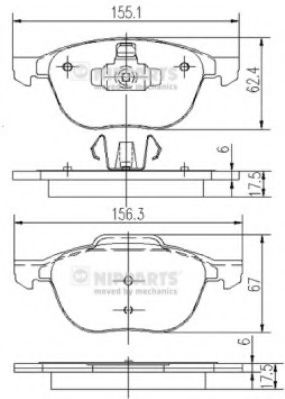 Тормозные колодки дисковые NIPPARTS J3603063