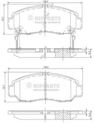 Колодки тормозные диск. Honda FR-V 05-; ACCORD VII (пр-во Nipparts)                                   арт. J3604051