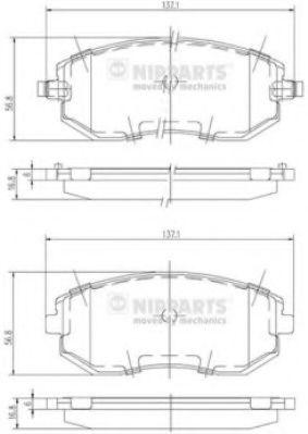 Тормозные колодки дисковые NIPPARTS J3607015