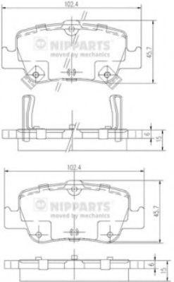Тормозные колодки дисковые NIPPARTS J3612033