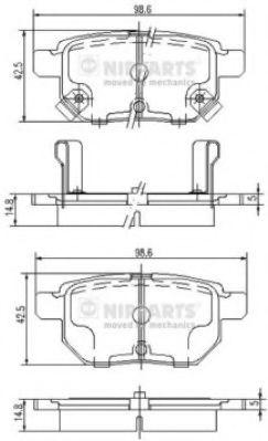 Тормозные колодки дисковые NIPPARTS J3612034