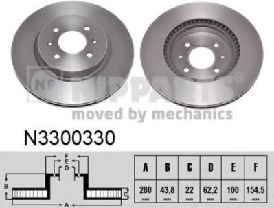 Гальмiвний диск NIPPARTS N3300330