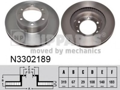 Гальмiвний диск NIPPARTS N3302189