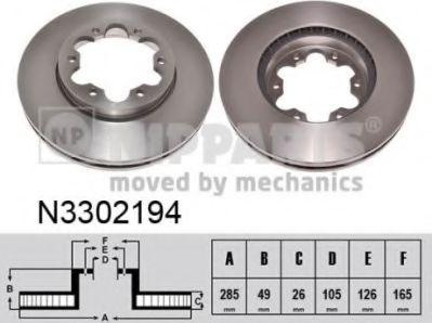Гальмiвний диск NIPPARTS N3302194