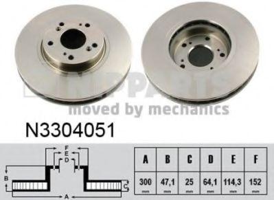 Диск гальмівний вентильований NIPPARTS N3304051