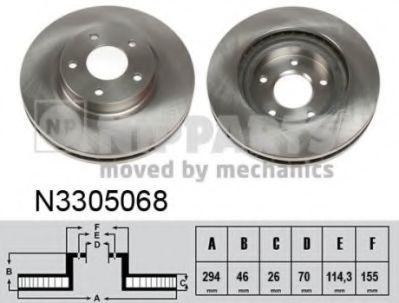 Диск тормозной Mitsubishi ASX 10- (пр-во Nipparts)                                                   NIPPARTS N3305068