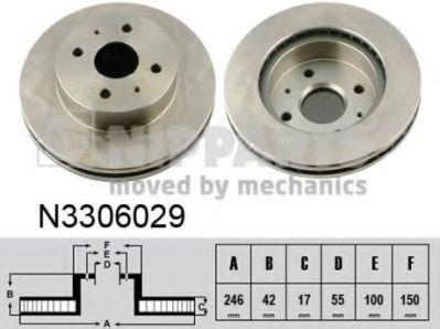 Гальмiвний диск NIPPARTS N3306029