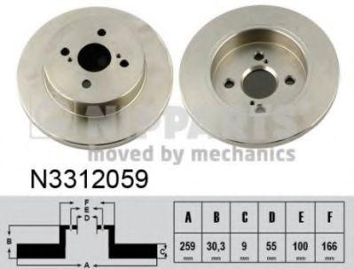 Тормозной диск Тормозной диск задний  NIPPARTS арт. N3312059