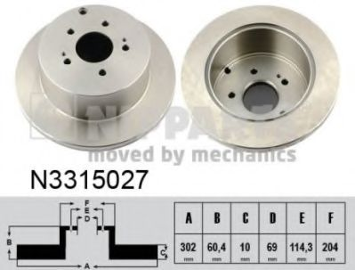 Диск тормозной Mitsubishi GRANDIS 04- (пр-во Nipparts)                                               NIPPARTS N3315027