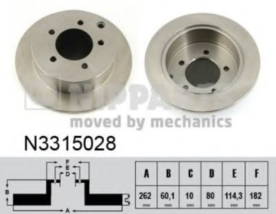 Диск тормозной Mitsubishi LANCER X 08-  (пр-во Nipparts)                                             NIPPARTS N3315028