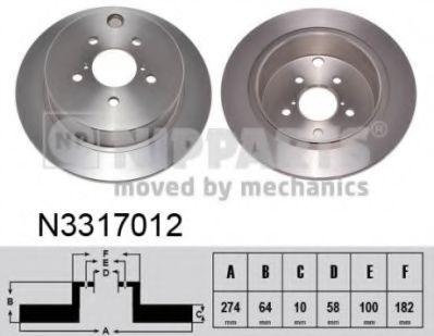 Гальмiвний диск NIPPARTS N3317012