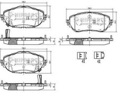 Гальмiвнi колодки, к-кт. NIPPARTS N3602150