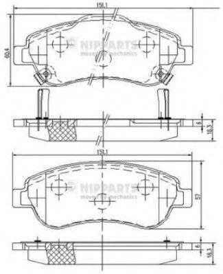 Комплект тормозных колодок, дисковый тормоз  арт. N3604066