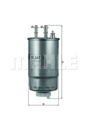Фильтр топливный Mahle  арт. KL567