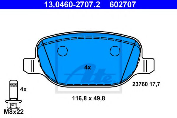 Комплект тормозных колодок, дисковый тормоз  арт. 13046027072