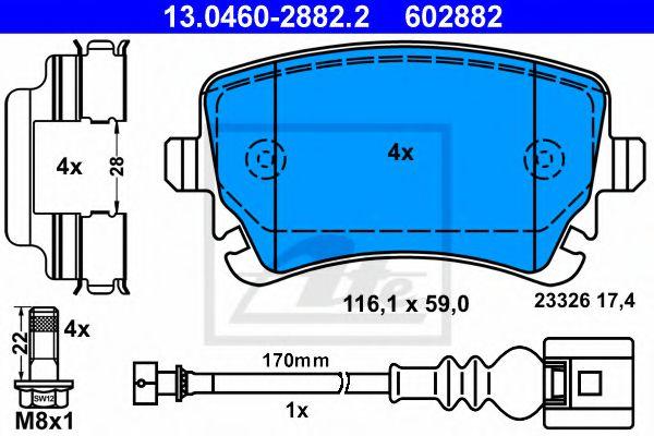 Гальмівні колодки, дискові ATE 13046028822