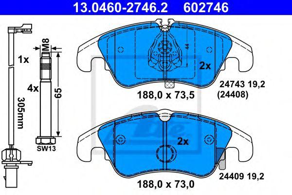 Гальмівні колодки, дискові ATE 13046027462
