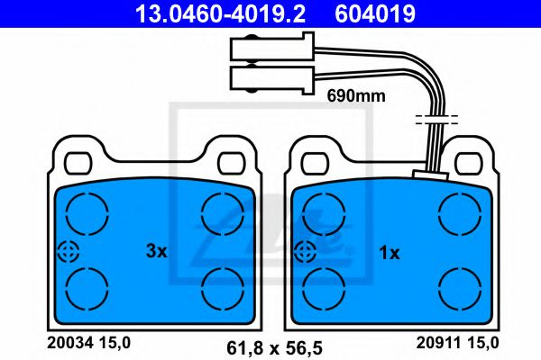 Комплект тормозных колодок, дисковый тормоз  арт. 13046040192