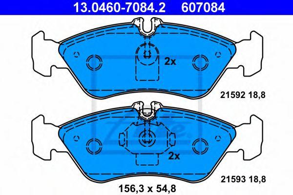 Гальмівні колодки дискові зад. DB Sprinter (901, 902, 903) VW LT (28-35, 28-46) 2.2-2.8 02.95- ATE 13046070842