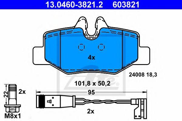 Гальмівні колодки дискові зад. DB Viano/Vito 2,2/3,2 CDI 03- ATE 13046038212