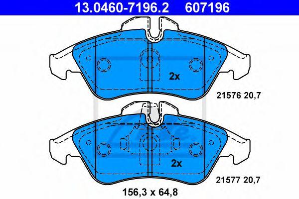 Гальмівні колодки дискові перед. DB Sprinter 208D/Sprinter 208E/Sprinter 210D/Sprinter/VW LT 95- ATE 13046071962