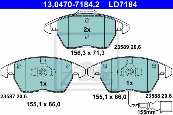 Гальмівні колодки, дискові ATE 13047071842