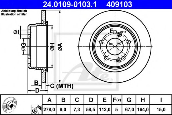 диск гальмівний ATE 24010901031