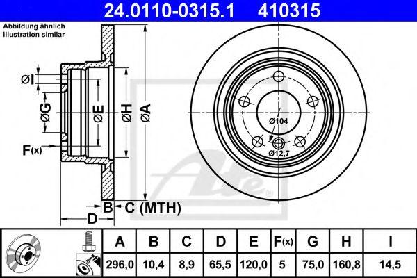 Тормозной диск задний BMW E87 118-112i, E90 316d-320i (296x10,5) ATE 24011003151