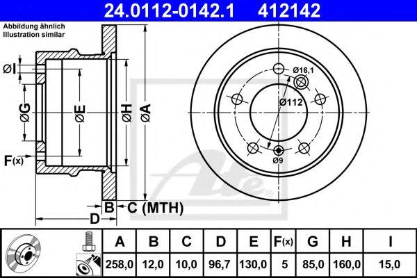 Диск гальмівний MB Sprinter 95- /задний/ 258x12 ATE 24011201421