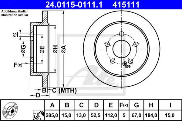Диск тормозной задн. MERCEDES M (W163) ATE 24011501111