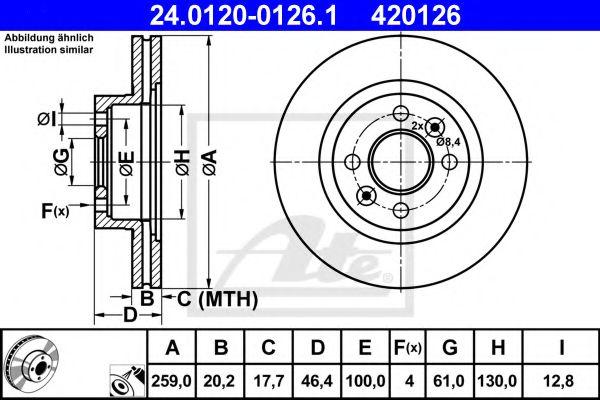 Диск гальмівний вентильований ATE 24012001261
