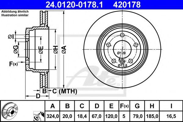 Диск гальмівний зад. Bmw 7 (E65,E66) 730,735 01-0 ATE 24012001781