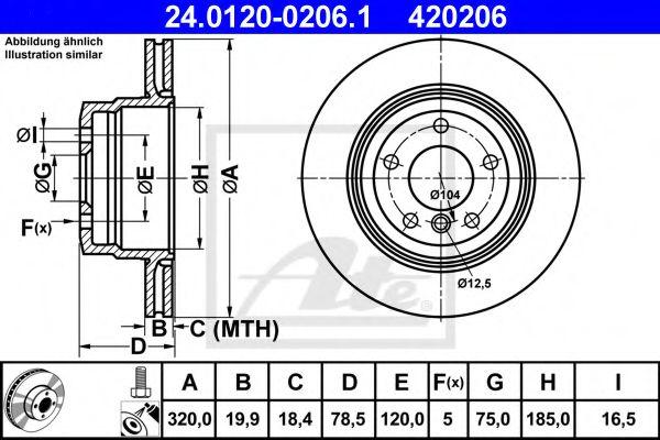 Тормозной диск задний вент. BMW X5(E70), X6(E71) 30i-40d, X5(F15), X6(F16) 25d-35i ATE 24012002061