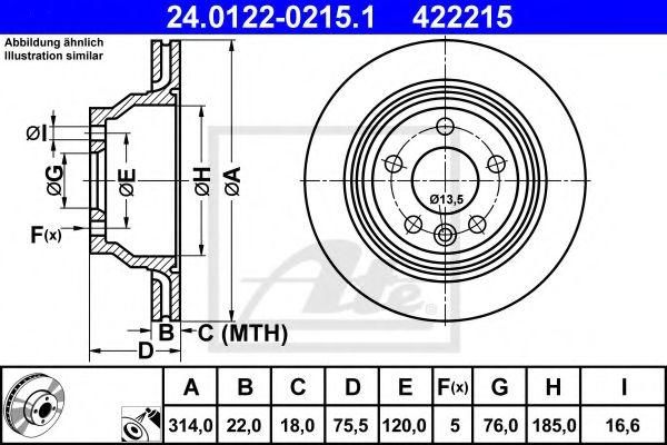 Диск гальмівний вентильований ATE 24012202151