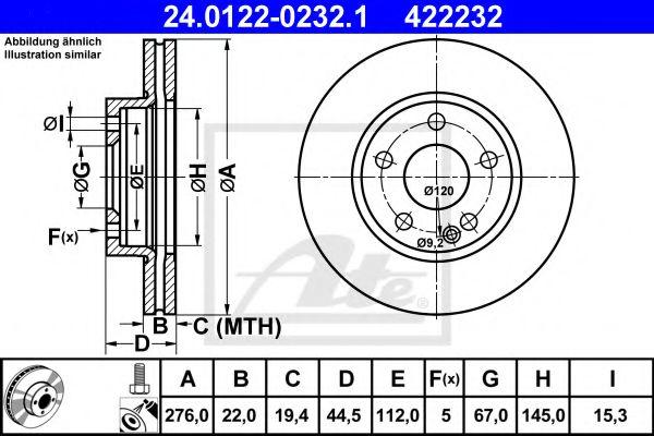 Диск гальмівний вентильований ATE 24012202321