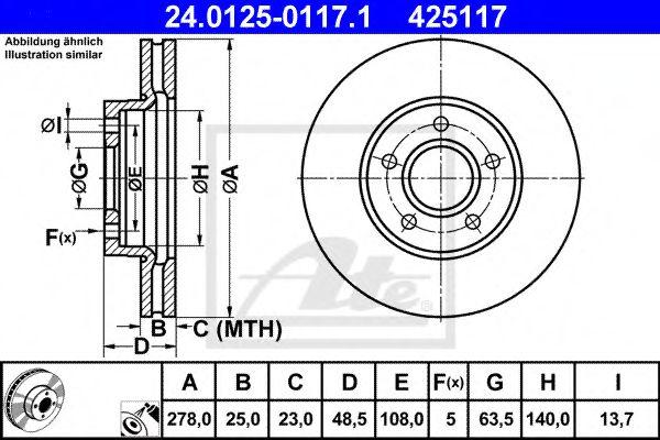 Тормозной диск ATE 24012501171
