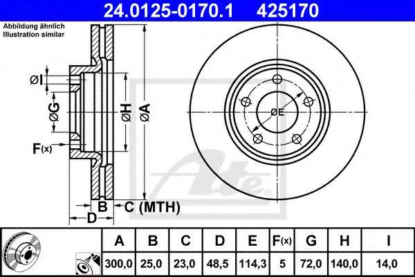 Тормозной диск ATE 24012501701