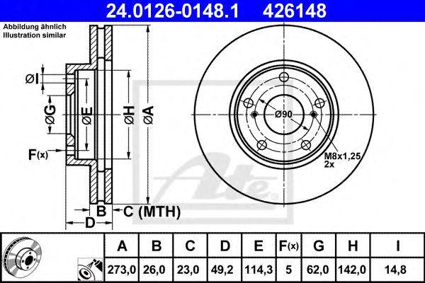Диск тормозной вентилируемый ATE 24012601481