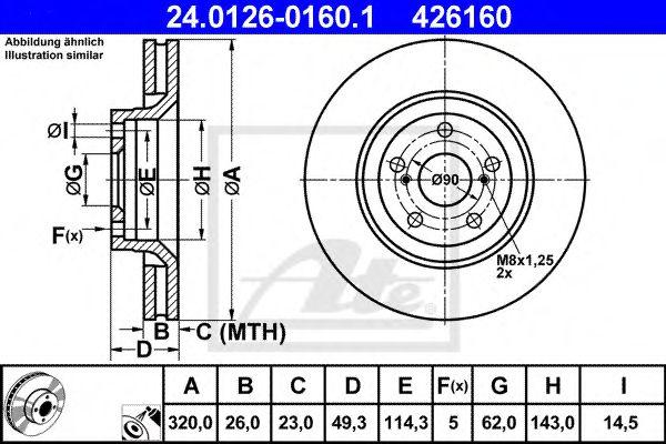 Диск гальмівний вентильований ATE 24012601601