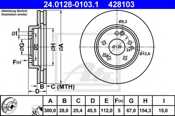 Диск гальмівний вентильований ATE 24012801031