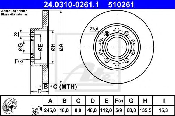 Диск тормозной POWER DISC ATE 24.0310-0261.1 SEAT EXEO 1.8TSI 10-/ AUDI A4 2.0TFSI 06-08 MINTEX арт. 24031002611