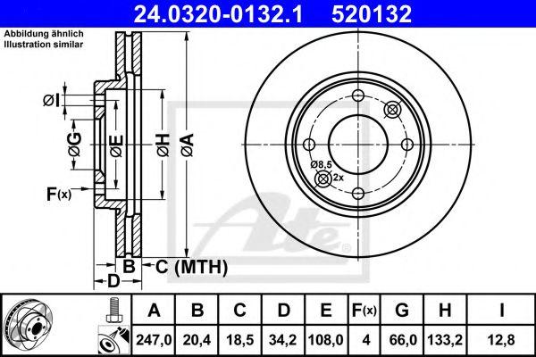 Диск гальмівний вентильований ATE 24032001321