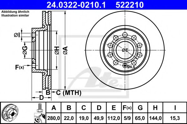 Диск гальмівний вентильований ATE 24032202101