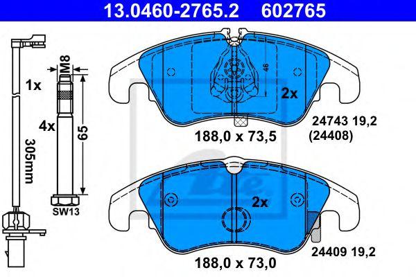 Гальмівні колодки, дискові ATE 13046027652