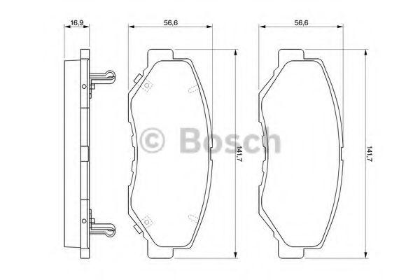 Колодки гальмiвнi дисковi пере Honda CR-V -06 BOSCH 0986424809