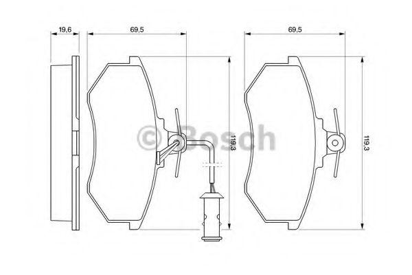 Комплект тормозных колодок, дисковый тормоз  арт. 0986466693