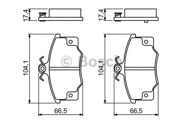 BOSCH ,Тормозные колодки перед. ALFA; Fiat Tempra,Tipo,Punto, LANCIA (17,5mm) BOSCH 0986468380