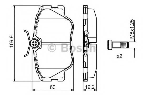 BOSCH ,Тормозные колодки перед. DB W124/201 (сист.Lucas) (19,3mm) BOSCH 0986469410